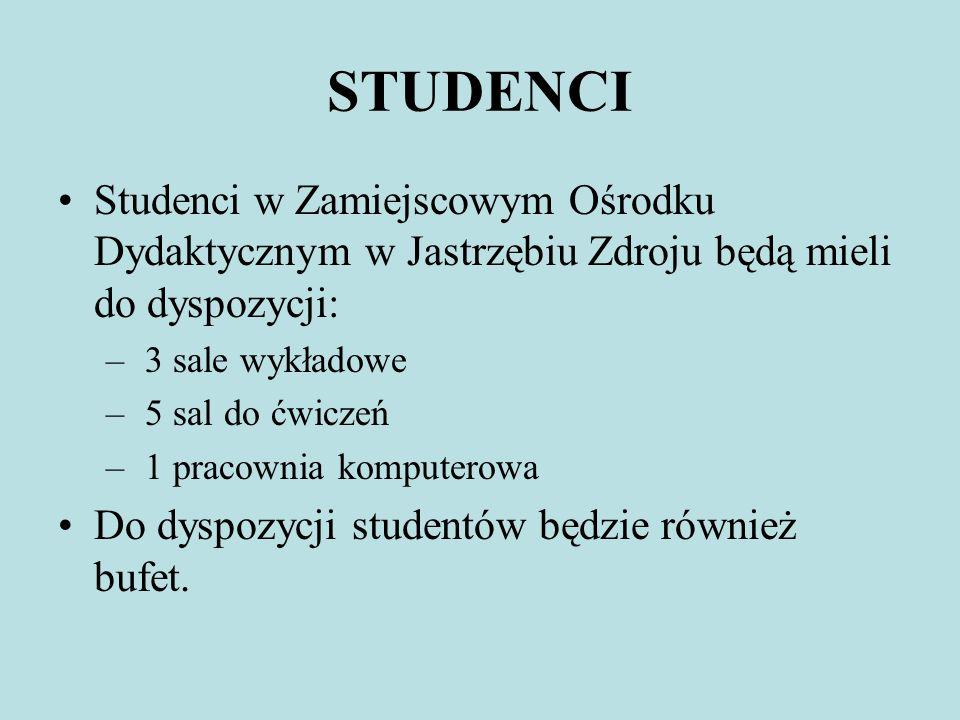 STUDENCI Studenci w Zamiejscowym Ośrodku Dydaktycznym w Jastrzębiu Zdroju będą mieli do dyspozycji: – 3 sale wykładowe – 5 sal do ćwiczeń – 1 pracowni