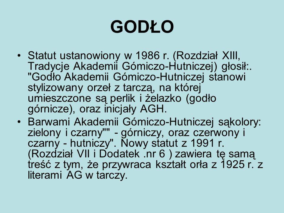 GODŁO Statut ustanowiony w 1986 r. (Rozdział XIII, Tradycje Akademii Gómiczo-Hutniczej) głosił:.