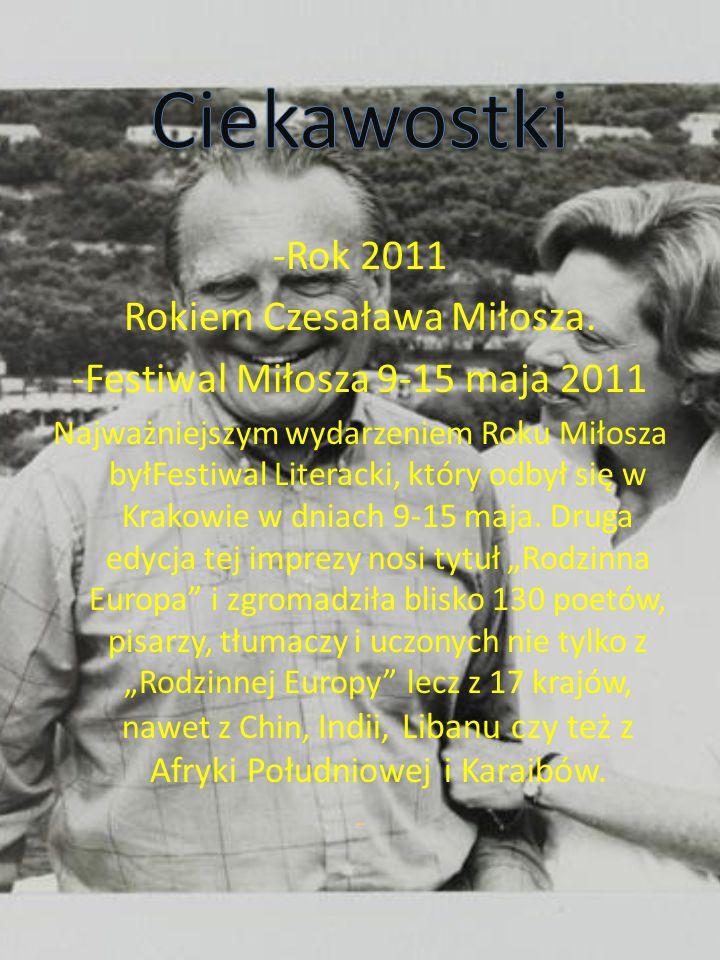 -Rok 2011 Rokiem Czesaława Miłosza.