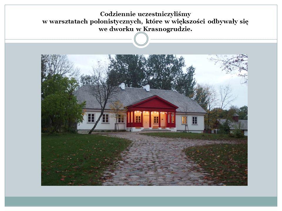 Codziennie uczestniczyliśmy w warsztatach polonistycznych, które w większości odbywały się we dworku w Krasnogrudzie.
