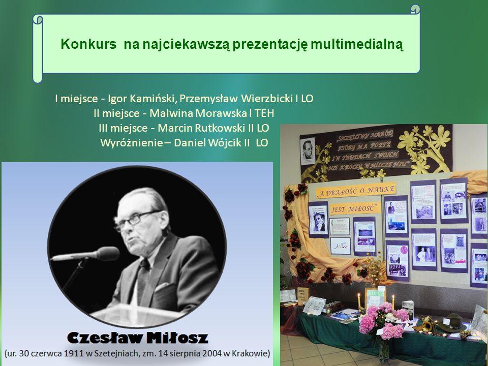 Ogłoszony przez Sejm RP Rok 2011 - Rokiem Czesława Miłosza stał się doskonałą okazją do przypomnienia życia i twórczości poety, jego dzieł, które na trwałe wpisały się w polską kulturę, stały się znaczącym elementem naszej edukacji literackiej.