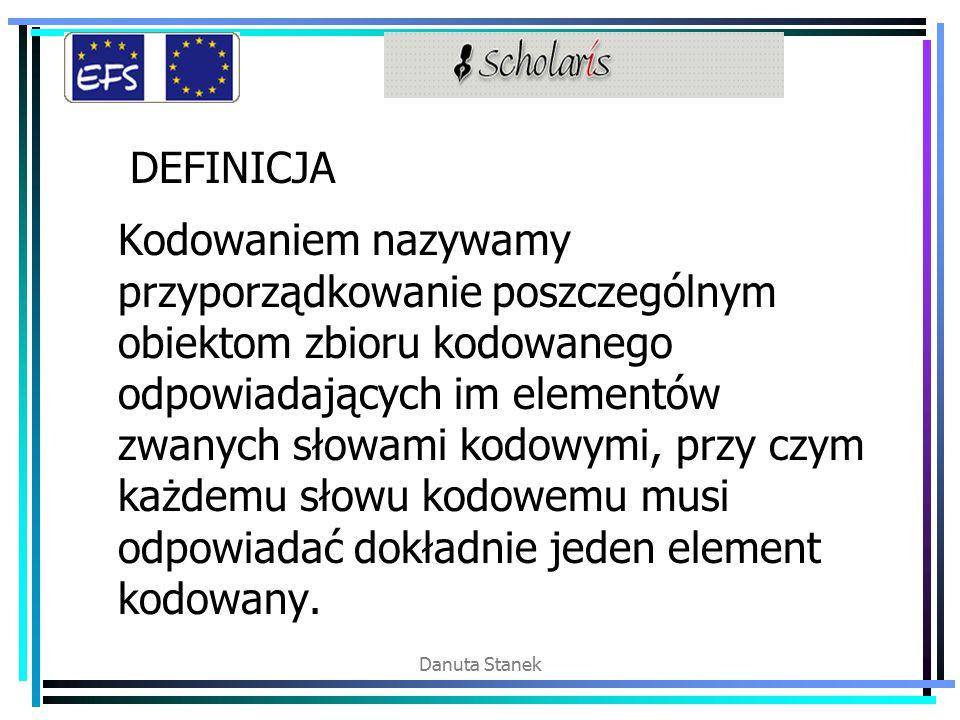 Danuta Stanek DEFINICJA Kodowaniem nazywamy przyporządkowanie poszczególnym obiektom zbioru kodowanego odpowiadających im elementów zwanych słowami kodowymi, przy czym każdemu słowu kodowemu musi odpowiadać dokładnie jeden element kodowany.