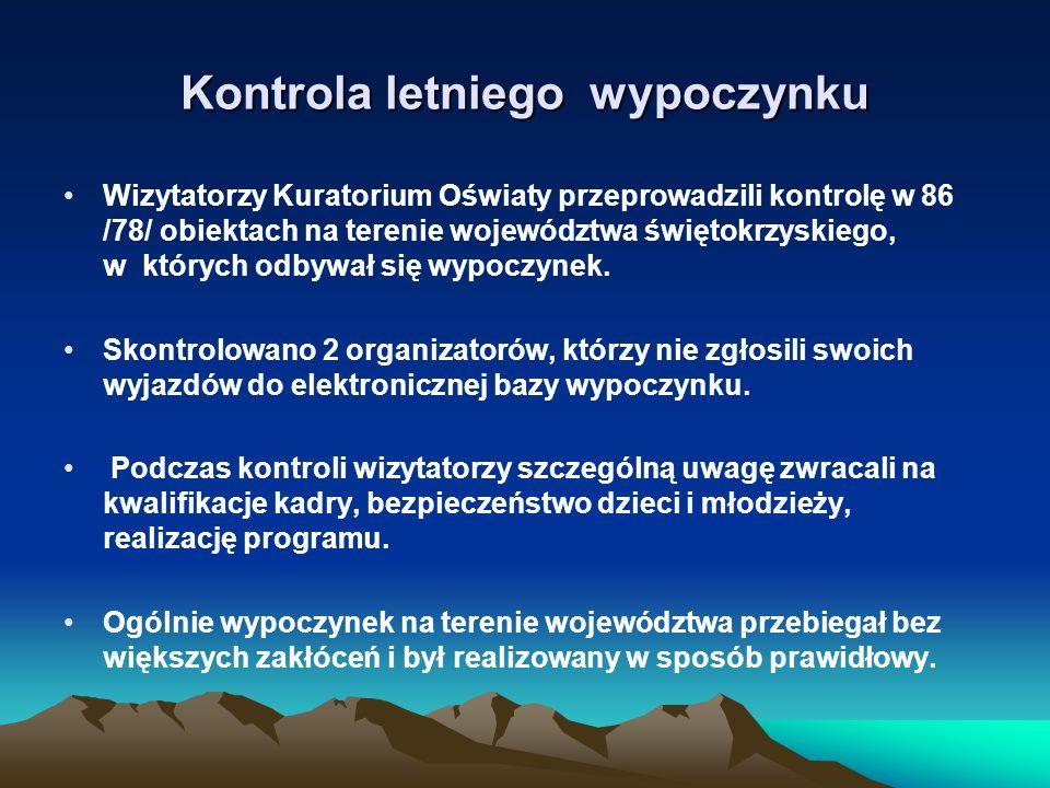 Kontrola letniego wypoczynku Wizytatorzy Kuratorium Oświaty przeprowadzili kontrolę w 86 /78/ obiektach na terenie województwa świętokrzyskiego, w których odbywał się wypoczynek.