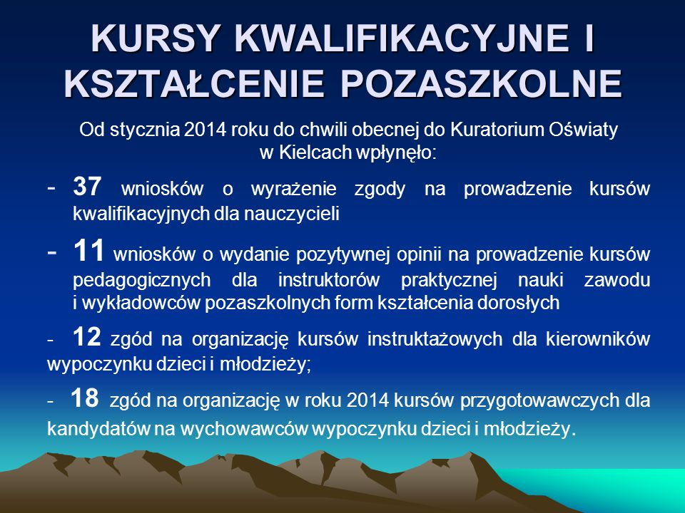 KURSY KWALIFIKACYJNE I KSZTAŁCENIE POZASZKOLNE Od stycznia 2014 roku do chwili obecnej do Kuratorium Oświaty w Kielcach wpłynęło: -37 wniosków o wyrażenie zgody na prowadzenie kursów kwalifikacyjnych dla nauczycieli -11 wniosków o wydanie pozytywnej opinii na prowadzenie kursów pedagogicznych dla instruktorów praktycznej nauki zawodu i wykładowców pozaszkolnych form kształcenia dorosłych - 12 zgód na organizację kursów instruktażowych dla kierowników wypoczynku dzieci i młodzieży; - 18 zgód na organizację w roku 2014 kursów przygotowawczych dla kandydatów na wychowawców wypoczynku dzieci i młodzieży.