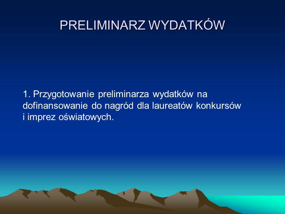 1. Przygotowanie preliminarza wydatków na dofinansowanie do nagród dla laureatów konkursów i imprez oświatowych. PRELIMINARZ WYDATKÓW