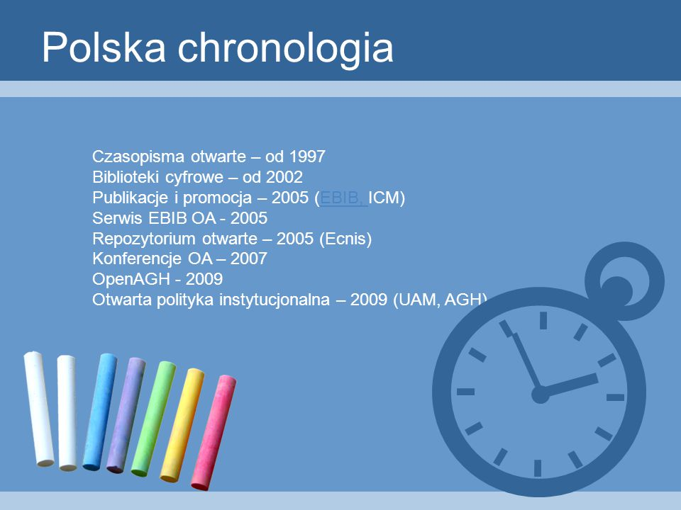 Polska chronologia Czasopisma otwarte – od 1997 Biblioteki cyfrowe – od 2002 Publikacje i promocja – 2005 (EBIB, ICM)EBIB, Serwis EBIB OA - 2005 Repozytorium otwarte – 2005 (Ecnis) Konferencje OA – 2007 OpenAGH - 2009 Otwarta polityka instytucjonalna – 2009 (UAM, AGH)