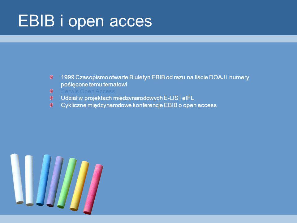 EBIB i open acces 1999 Czasopismo otwarte Biuletyn EBIB od razu na liście DOAJ i numery pośięcone temu tematowi Serwis Open Access Udział w projektach międzynarodowych E-LIS i eIFL Cykliczne międzynarodowe konferencje EBIB o open access
