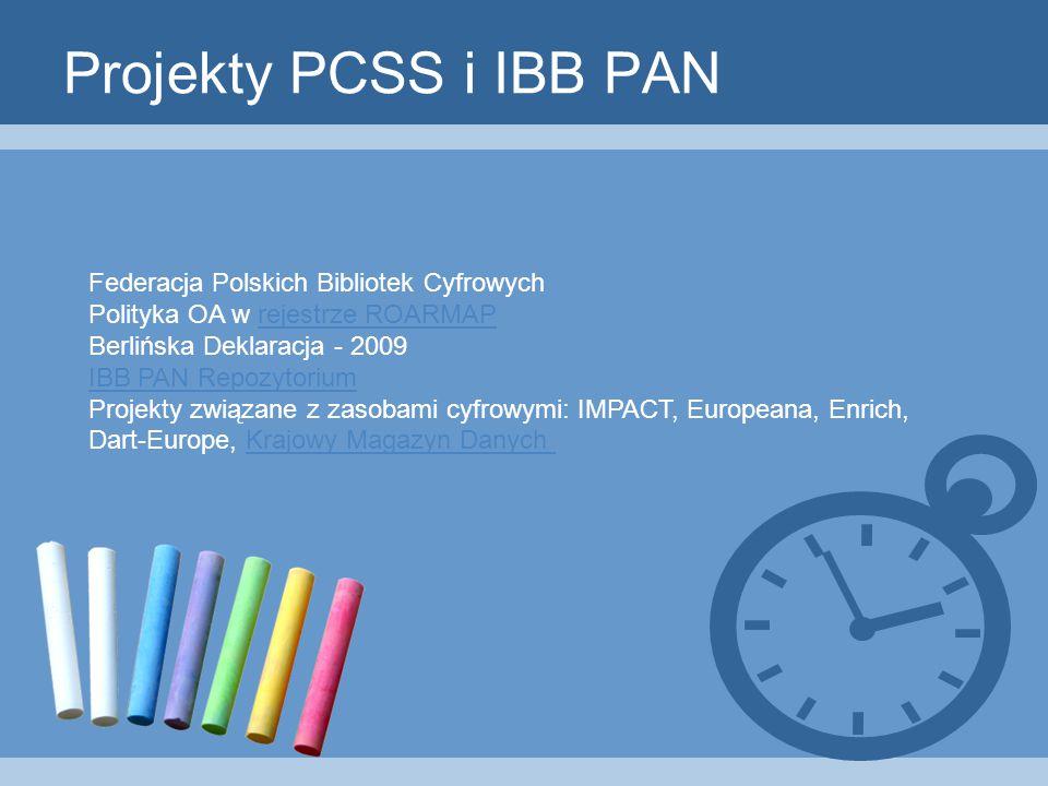 Projekty PCSS i IBB PAN Federacja Polskich Bibliotek Cyfrowych Polityka OA w rejestrze ROARMAPrejestrze ROARMAP Berlińska Deklaracja - 2009 IBB PAN Repozytorium Projekty związane z zasobami cyfrowymi: IMPACT, Europeana, Enrich, Dart-Europe, Krajowy Magazyn DanychKrajowy Magazyn Danych