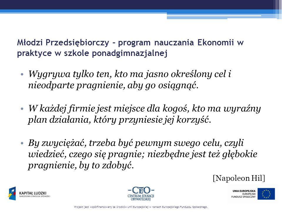 Młodzi Przedsiębiorczy – program nauczania Ekonomii w praktyce w szkole ponadgimnazjalnej Wygrywa tylko ten, kto ma jasno określony cel i nieodparte pragnienie, aby go osiągnąć.