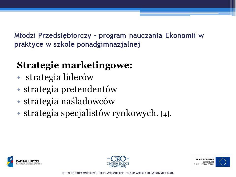 Młodzi Przedsiębiorczy – program nauczania Ekonomii w praktyce w szkole ponadgimnazjalnej Strategie marketingowe: strategia liderów strategia pretendentów strategia naśladowców strategia specjalistów rynkowych.