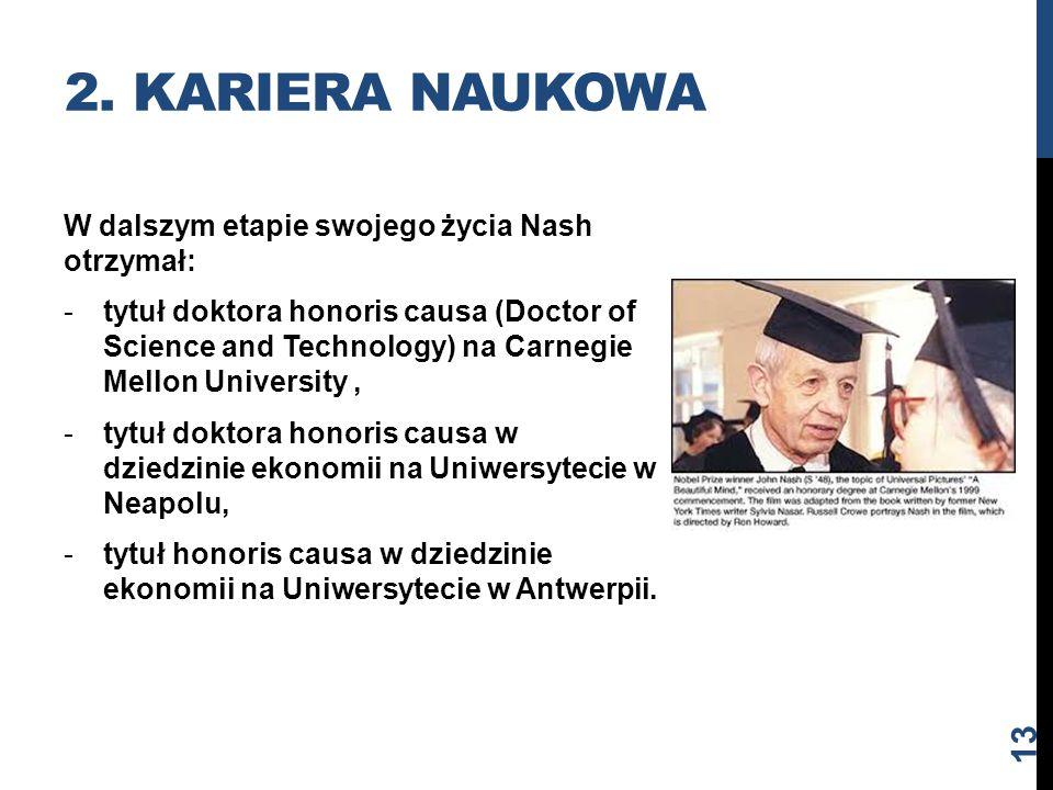 W dalszym etapie swojego życia Nash otrzymał: -tytuł doktora honoris causa (Doctor of Science and Technology) na Carnegie Mellon University, -tytuł do