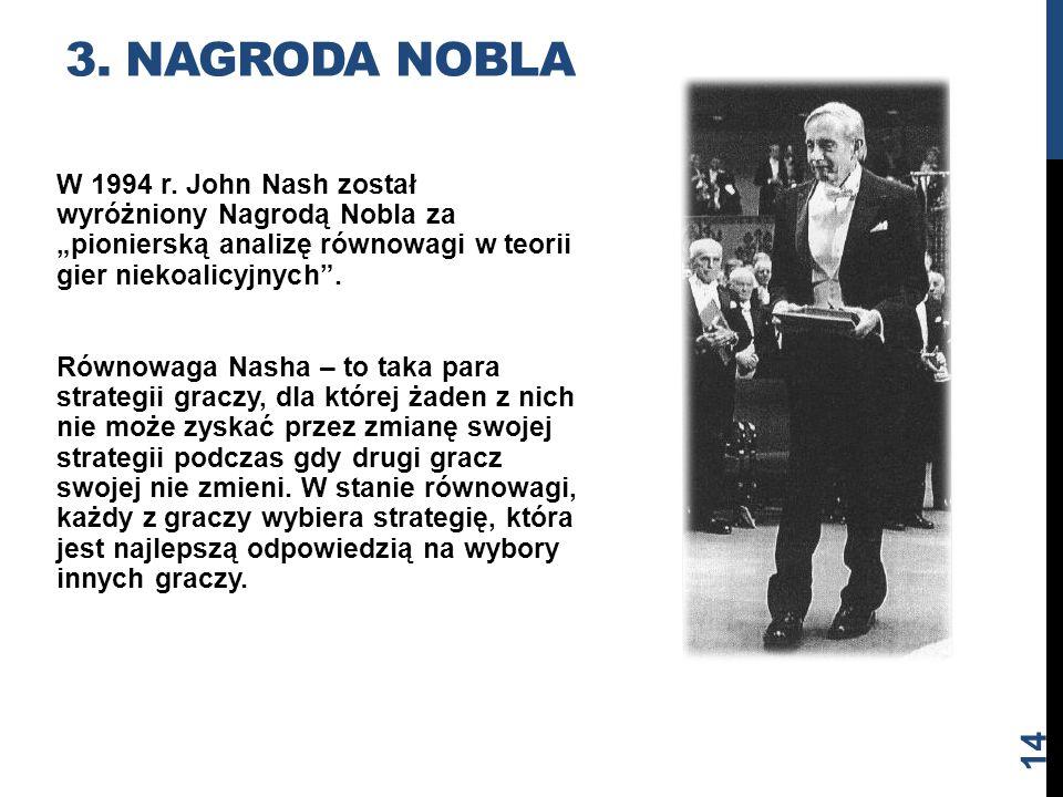 """3. NAGRODA NOBLA W 1994 r. John Nash został wyróżniony Nagrodą Nobla za """"pionierską analizę równowagi w teorii gier niekoalicyjnych"""". Równowaga Nasha"""