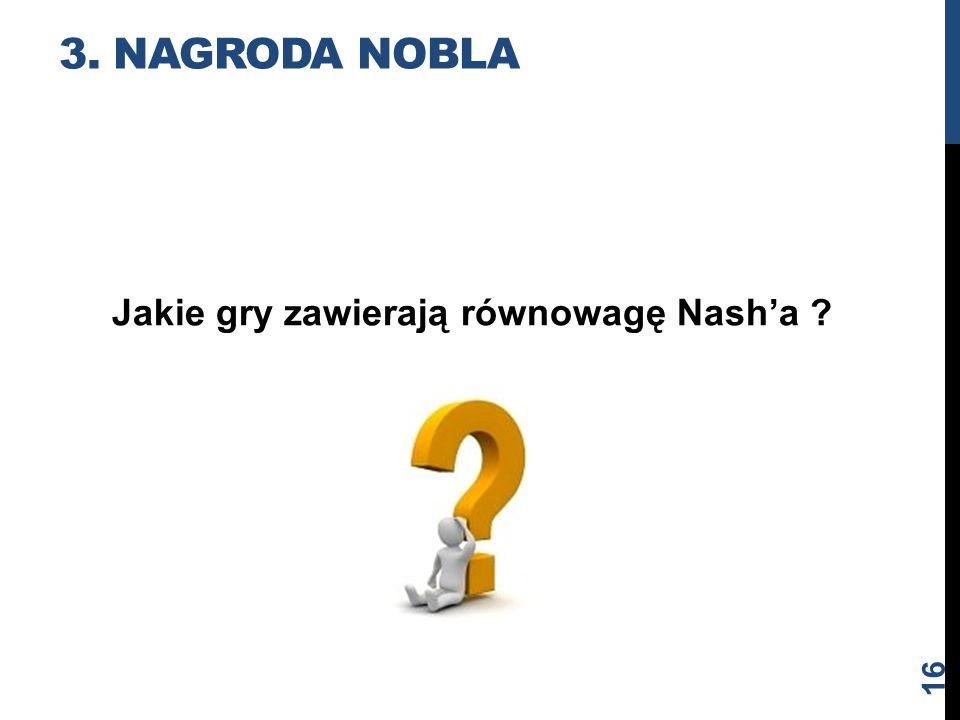Jakie gry zawierają równowagę Nash'a ? 3. NAGRODA NOBLA 16