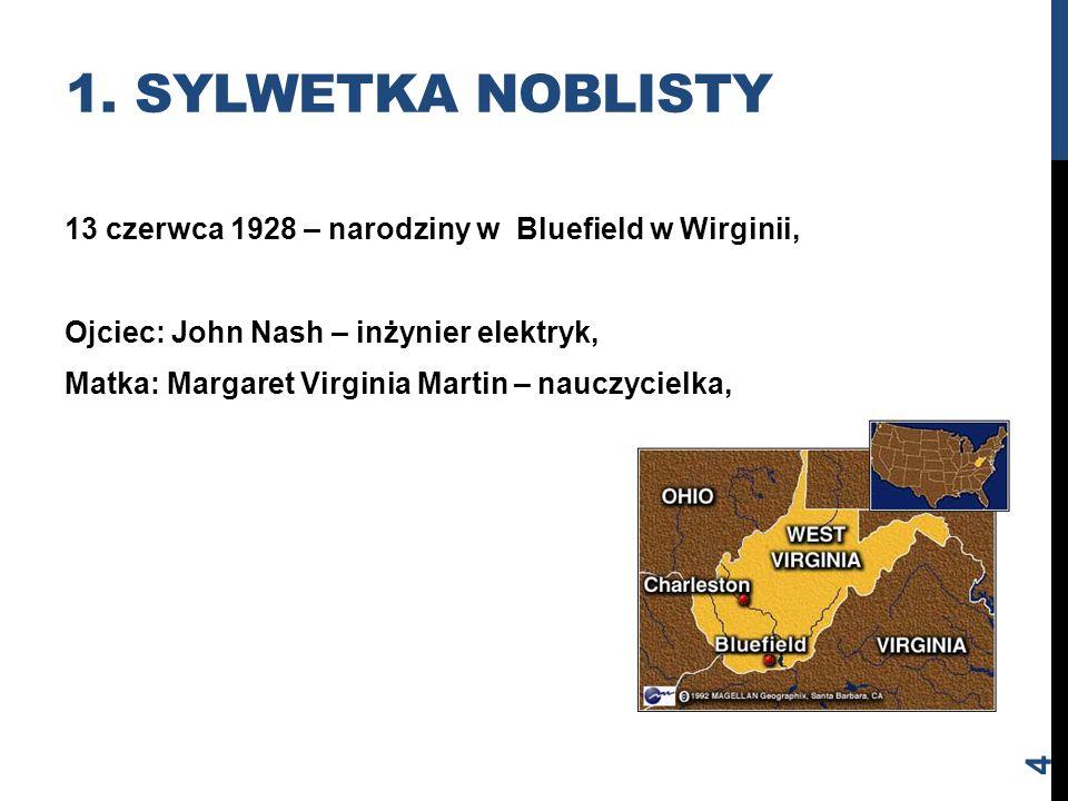 13 czerwca 1928 – narodziny w Bluefield w Wirginii, Ojciec: John Nash – inżynier elektryk, Matka: Margaret Virginia Martin – nauczycielka, 1. SYLWETKA