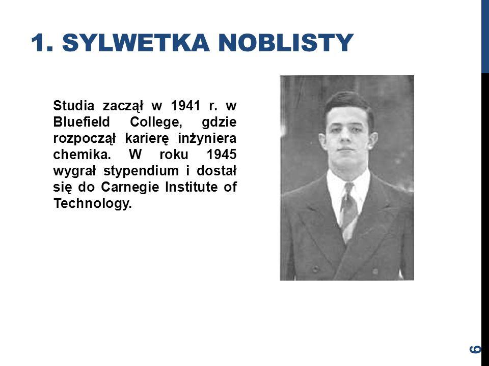 Studia zaczął w 1941 r. w Bluefield College, gdzie rozpoczął karierę inżyniera chemika. W roku 1945 wygrał stypendium i dostał się do Carnegie Institu