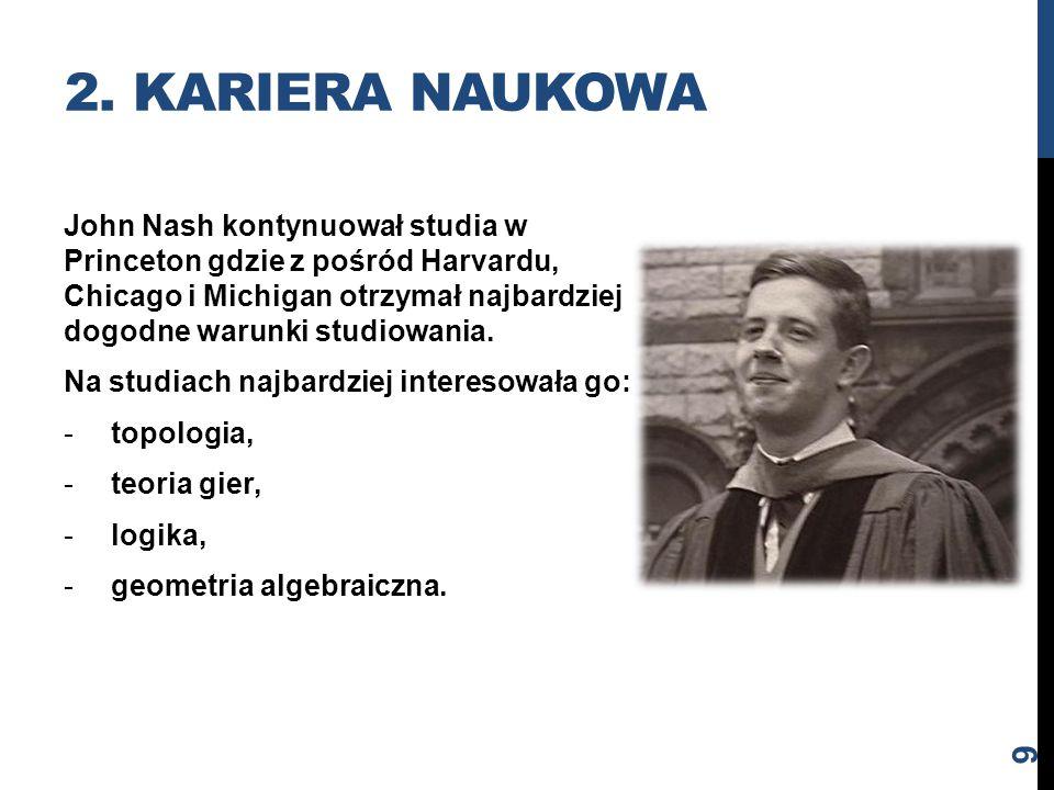 John Nash kontynuował studia w Princeton gdzie z pośród Harvardu, Chicago i Michigan otrzymał najbardziej dogodne warunki studiowania. Na studiach naj