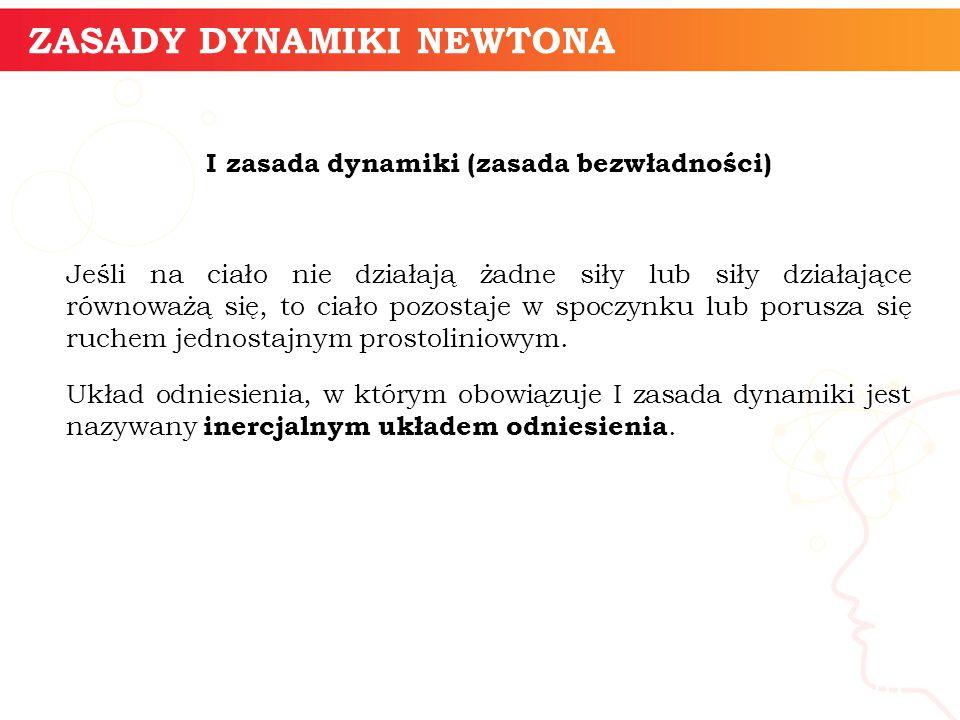 informatyka + 10 ZASADY DYNAMIKI NEWTONA I zasada dynamiki (zasada bezwładności) Jeśli na ciało nie działają żadne siły lub siły działające równoważą