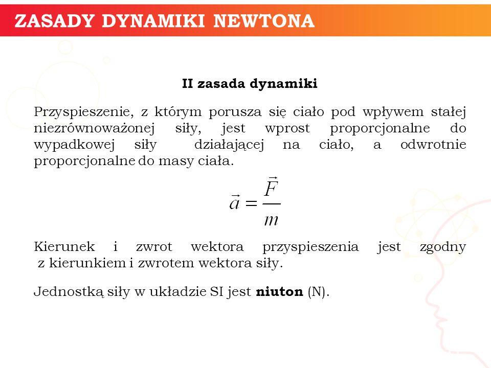 informatyka + 11 ZASADY DYNAMIKI NEWTONA II zasada dynamiki Przyspieszenie, z którym porusza się ciało pod wpływem stałej niezrównoważonej siły, jest