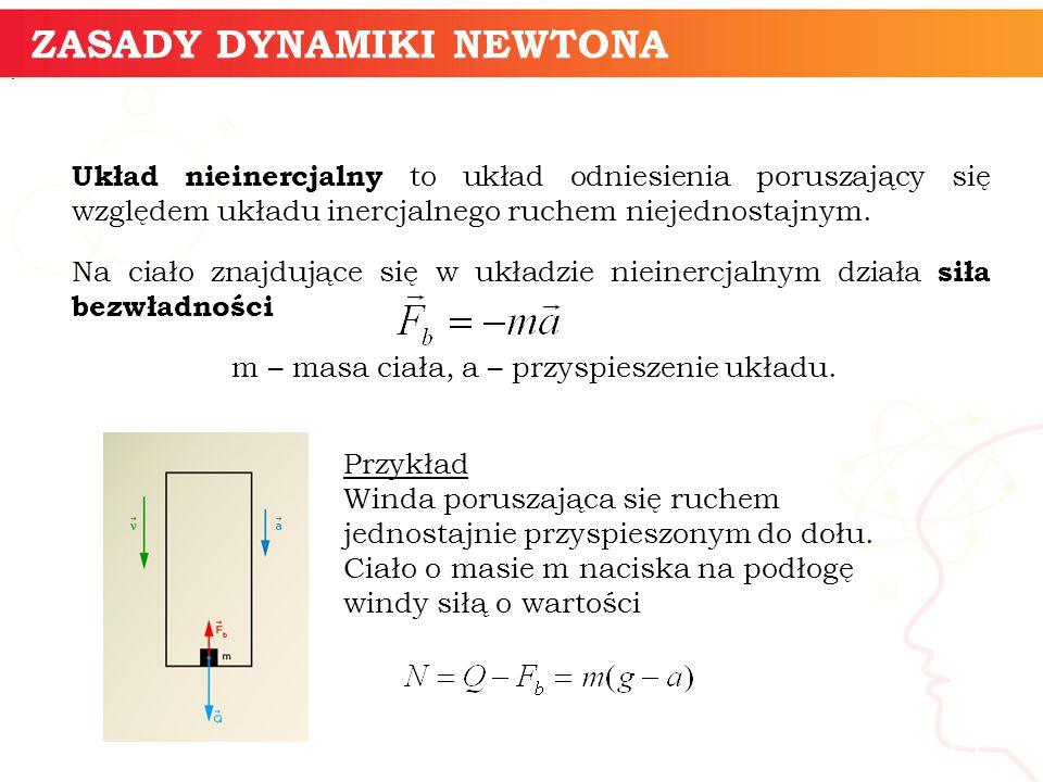 informatyka + 15 ZASADY DYNAMIKI NEWTONA Układ nieinercjalny to układ odniesienia poruszający się względem układu inercjalnego ruchem niejednostajnym.
