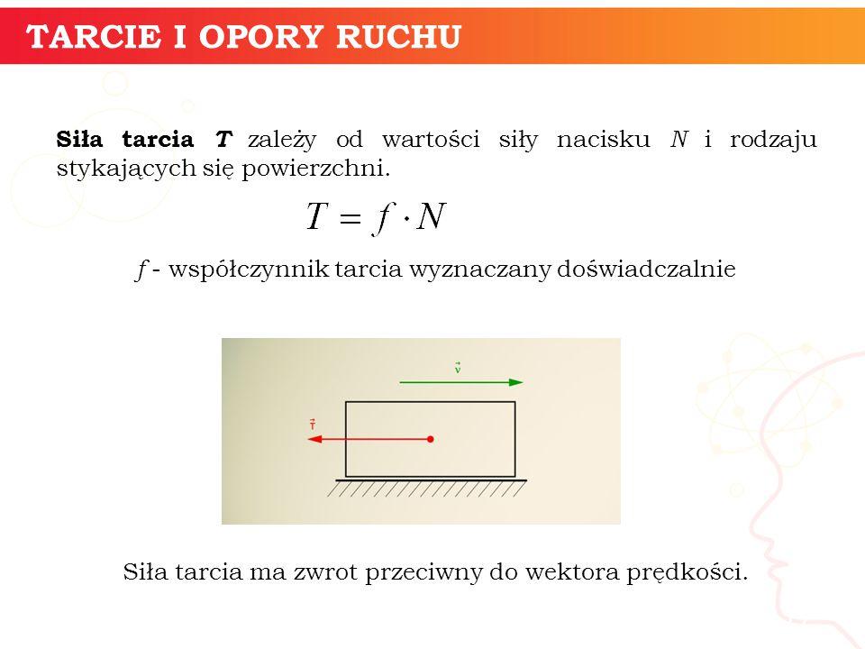 informatyka + 17 TARCIE I OPORY RUCHU Siła tarcia T zależy od wartości siły nacisku N i rodzaju stykających się powierzchni. f - współczynnik tarcia w