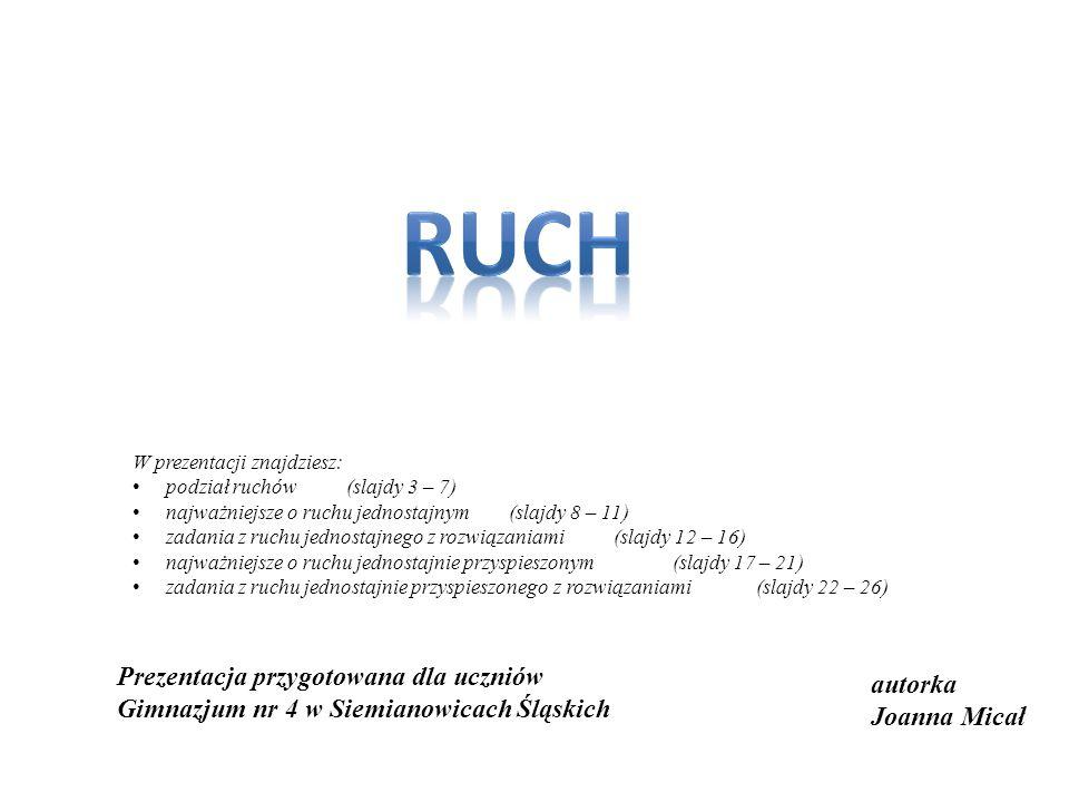 autorka Joanna Micał Prezentacja przygotowana dla uczniów Gimnazjum nr 4 w Siemianowicach Śląskich W prezentacji znajdziesz: podział ruchów(slajdy 3 –