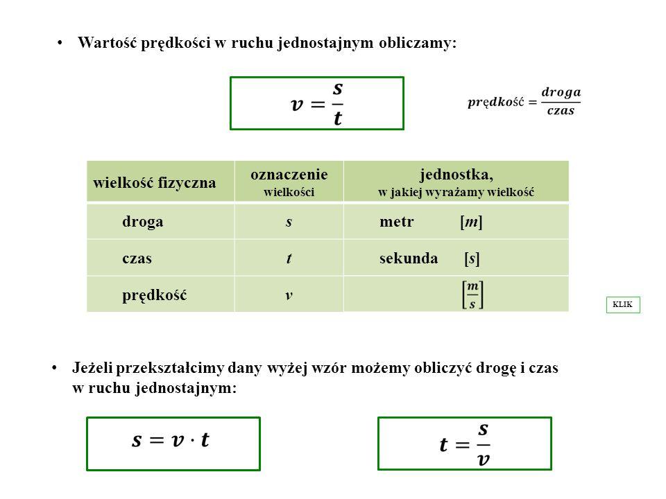 Wartość prędkości w ruchu jednostajnym obliczamy: wielkość fizyczna oznaczenie wielkości jednostka, w jakiej wyrażamy wielkość drogas metr [m] czast s