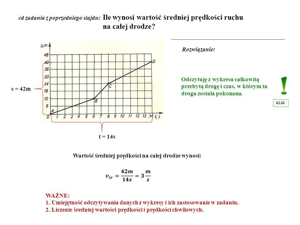 cd zadania z poprzedniego slajdu: Ile wynosi wartość średniej prędkości ruchu na całej drodze? Rozwiązanie: Odczytuję z wykresu całkowitą przebytą dro
