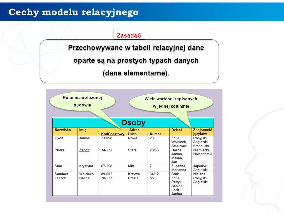 Cechy modelu relacyjnego 13 Przechowywane w tabeli relacyjnej dane oparte są na prostych typach danych (dane elementarne). Przechowywane w tabeli rela