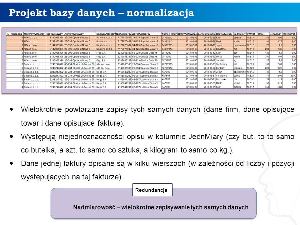 Projekt bazy danych – normalizacja 18  Wielokrotnie powtarzane zapisy tych samych danych (dane firm, dane opisujące towar i dane opisujące fakturę).