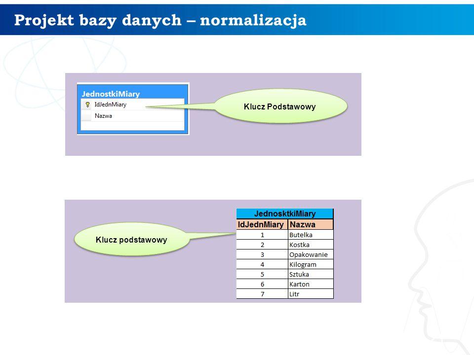 Projekt bazy danych – normalizacja 21 Klucz Podstawowy Klucz podstawowy