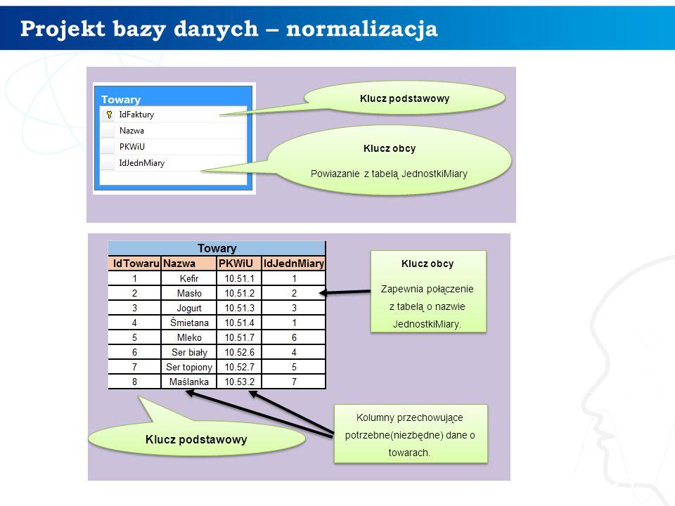 Projekt bazy danych – normalizacja 23 Klucz podstawowy Klucz obcy Powiazanie z tabelą JednostkiMiary Klucz obcy Powiazanie z tabelą JednostkiMiary Klu