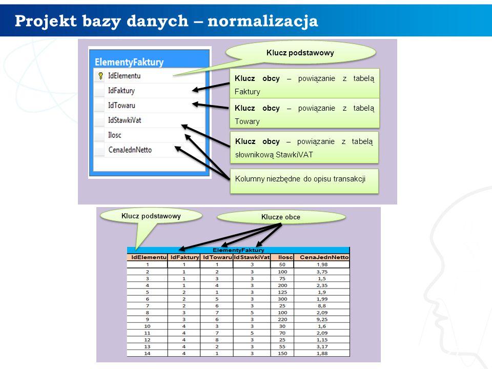 Projekt bazy danych – normalizacja 27 Klucz podstawowy Klucz obcy – powiązanie z tabelą Faktury Klucz obcy – powiązanie z tabelą Towary Klucz obcy – p