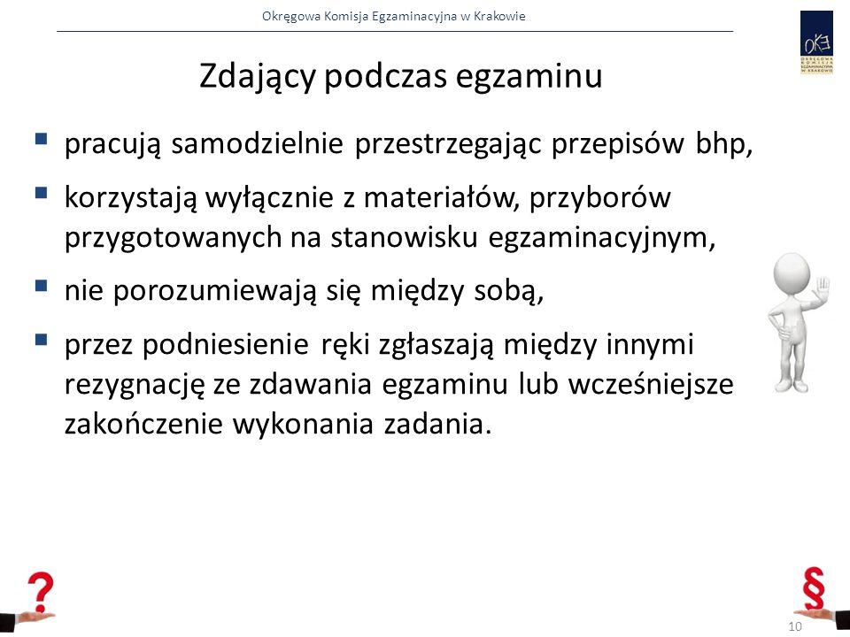 Okręgowa Komisja Egzaminacyjna w Krakowie Zdający podczas egzaminu  pracują samodzielnie przestrzegając przepisów bhp,  korzystają wyłącznie z mater