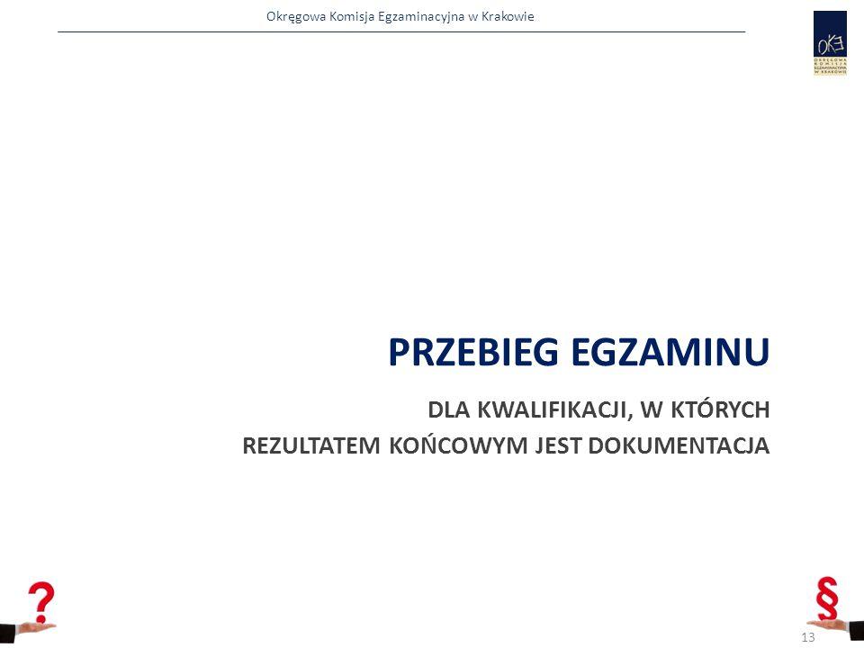 Okręgowa Komisja Egzaminacyjna w Krakowie PRZEBIEG EGZAMINU DLA KWALIFIKACJI, W KTÓRYCH REZULTATEM KOŃCOWYM JEST DOKUMENTACJA 13