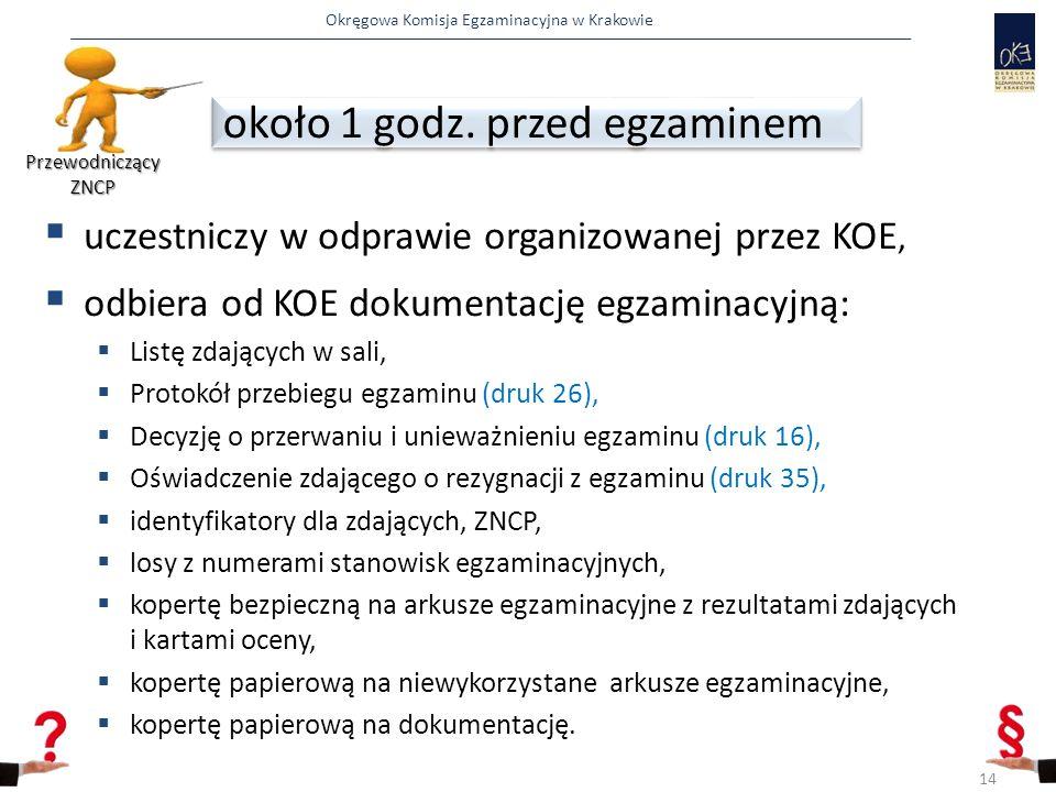 Okręgowa Komisja Egzaminacyjna w Krakowie  uczestniczy w odprawie organizowanej przez KOE,  odbiera od KOE dokumentację egzaminacyjną:  Listę zdają