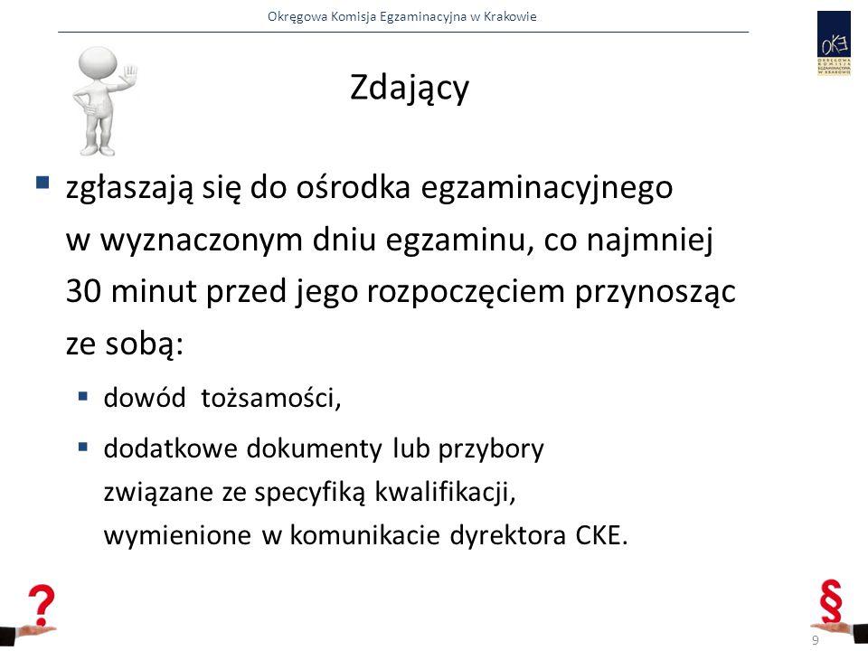 Okręgowa Komisja Egzaminacyjna w Krakowie Zdający podczas egzaminu  pracują samodzielnie przestrzegając przepisów bhp,  korzystają wyłącznie z materiałów, przyborów przygotowanych na stanowisku egzaminacyjnym,  nie porozumiewają się między sobą,  przez podniesienie ręki zgłaszają między innymi rezygnację ze zdawania egzaminu lub wcześniejsze zakończenie wykonania zadania.