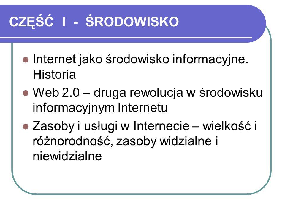 CZĘŚĆ I - ŚRODOWISKO Internet jako środowisko informacyjne.