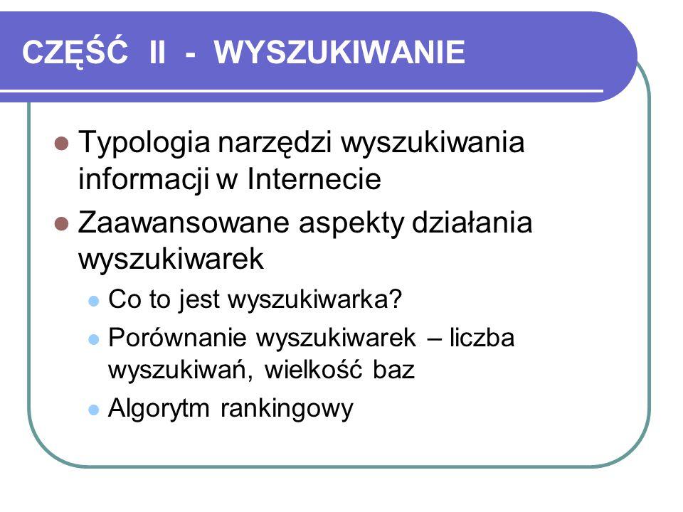 CZĘŚĆ II - WYSZUKIWANIE Typologia narzędzi wyszukiwania informacji w Internecie Zaawansowane aspekty działania wyszukiwarek Co to jest wyszukiwarka.