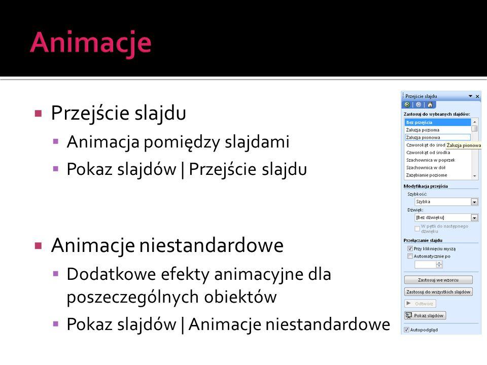  Przejście slajdu  Animacja pomiędzy slajdami  Pokaz slajdów | Przejście slajdu  Animacje niestandardowe  Dodatkowe efekty animacyjne dla poszecz