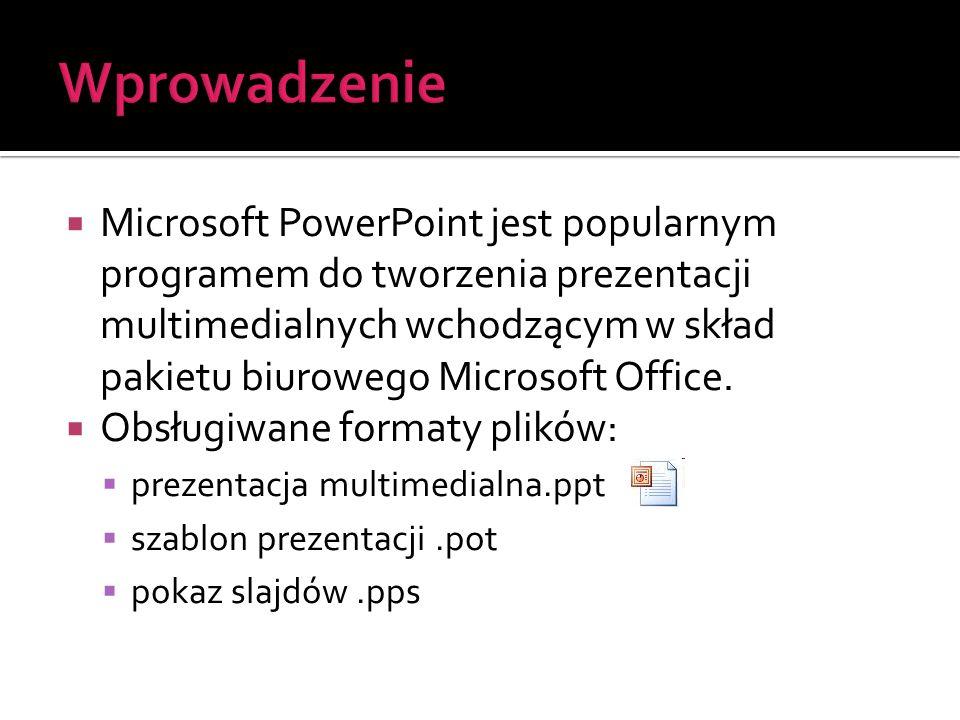  Microsoft PowerPoint jest popularnym programem do tworzenia prezentacji multimedialnych wchodzącym w skład pakietu biurowego Microsoft Office.  Obs