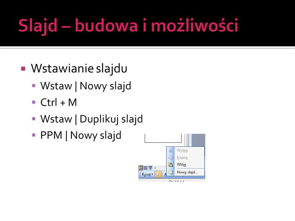  Wstawianie slajdu  Wstaw | Nowy slajd  Ctrl + M  Wstaw | Duplikuj slajd  PPM | Nowy slajd