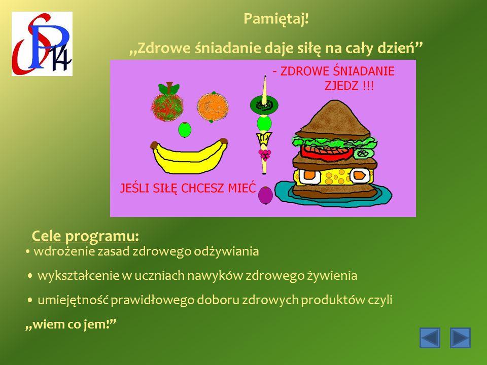 """Pamiętaj! """"Zdrowe śniadanie daje siłę na cały dzień"""" Cele programu: wdrożenie zasad zdrowego odżywiania wykształcenie w uczniach nawyków zdrowego żywi"""