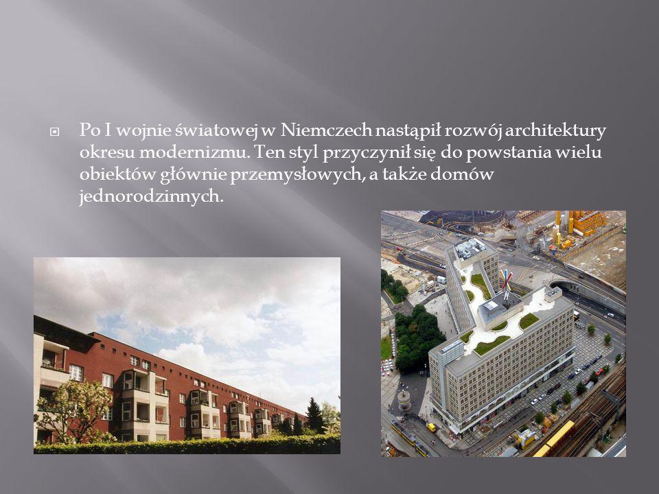  Po I wojnie światowej w Niemczech nastąpił rozwój architektury okresu modernizmu. Ten styl przyczynił się do powstania wielu obiektów głównie przemy