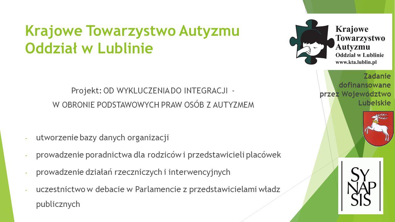 Krajowe Towarzystwo Autyzmu Oddział w Lublinie Projekt: OD WYKLUCZENIA DO INTEGRACJI - W OBRONIE PODSTAWOWYCH PRAW OSÓB Z AUTYZMEM - utworzenie bazy d