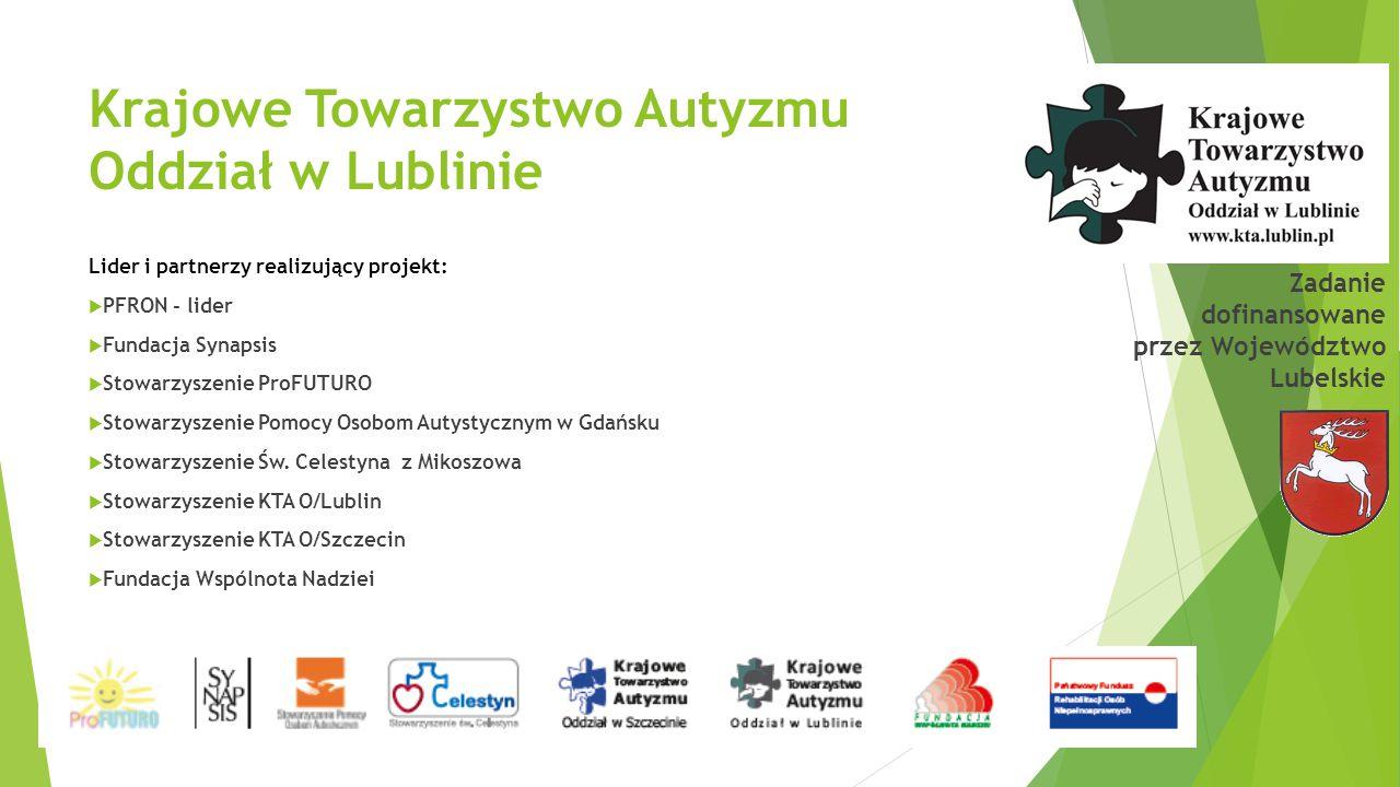 Krajowe Towarzystwo Autyzmu Oddział w Lublinie Lider i partnerzy realizujący projekt:  PFRON - lider  Fundacja Synapsis  Stowarzyszenie ProFUTURO 
