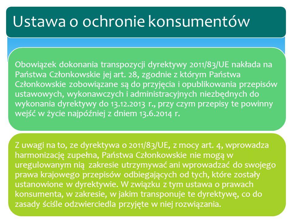 Obowiązek dokonania transpozycji dyrektywy 2011/83/UE nakłada na Państwa Członkowskie jej art. 28, zgodnie z którym Państwa Członkowskie zobowiązane s