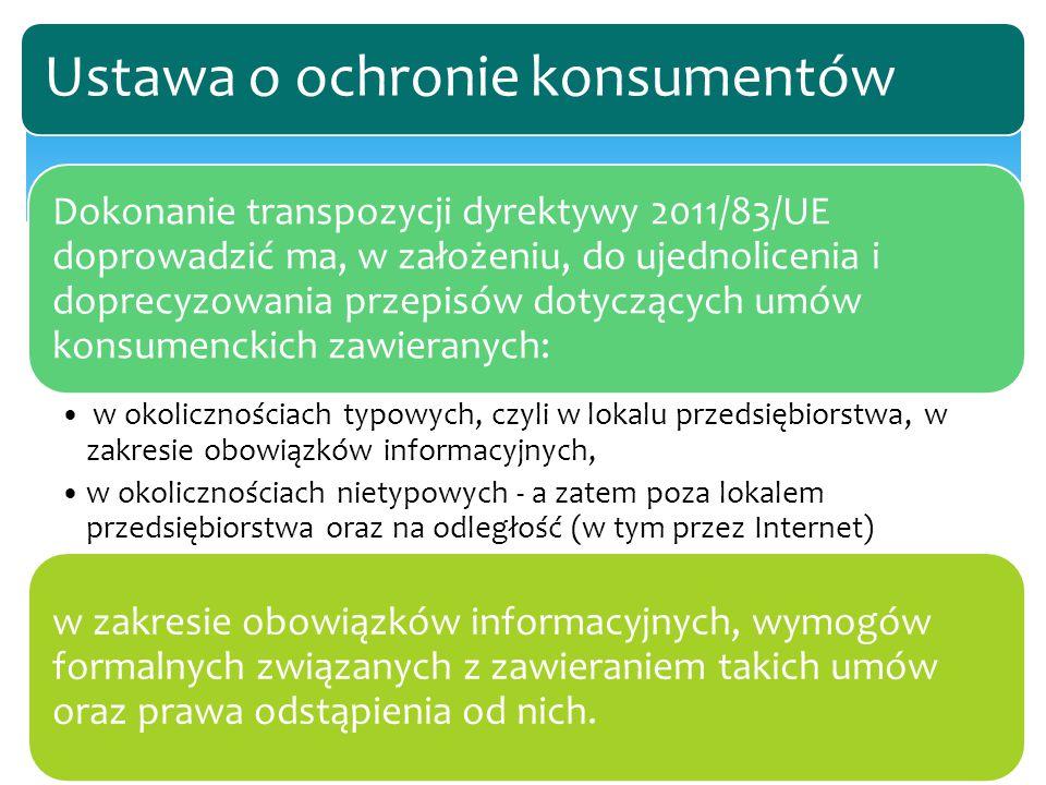 Dokonanie transpozycji dyrektywy 2011/83/UE doprowadzić ma, w założeniu, do ujednolicenia i doprecyzowania przepisów dotyczących umów konsumenckich za