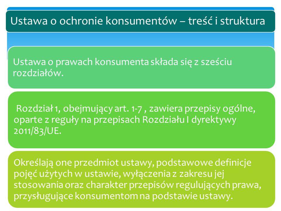Ustawa o prawach konsumenta składa się z sześciu rozdziałów. Rozdział 1, obejmujący art. 1-7, zawiera przepisy ogólne, oparte z reguły na przepisach R