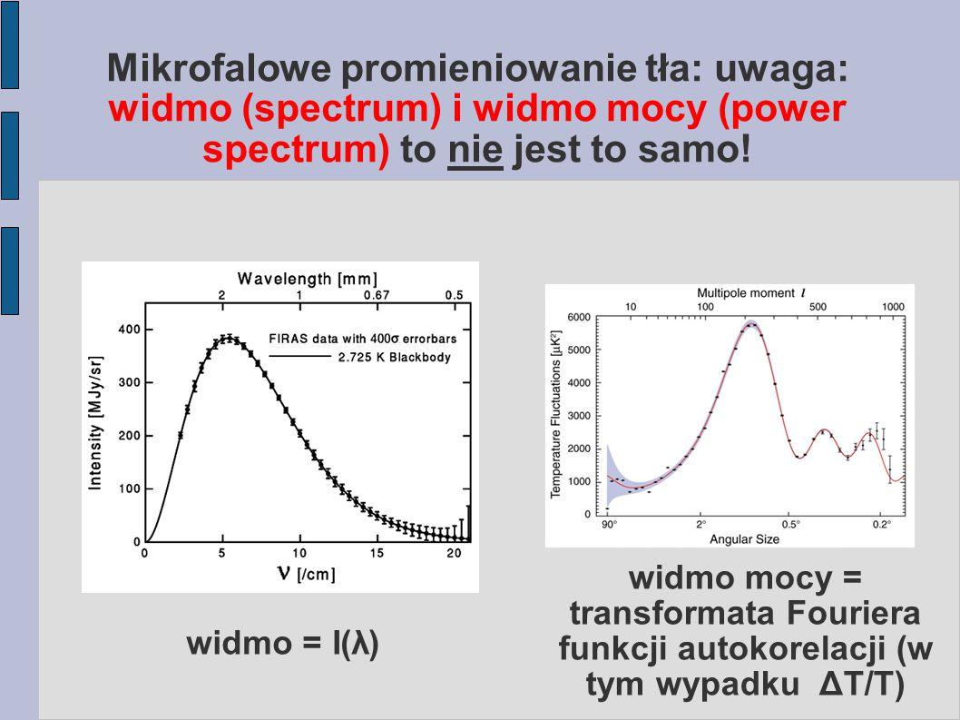 P(k) vs  (r) Falę płaską możemy rozłożyć w szereg Rayleigha: I wycałkować ξ po kątach, korzystając z niezmienniczości względem obrotów: Często korzysta się z logarytmicznego przedziału k: W sumie: funkcja korelacji i widmo mocy tworzą parę transformat Fouriera