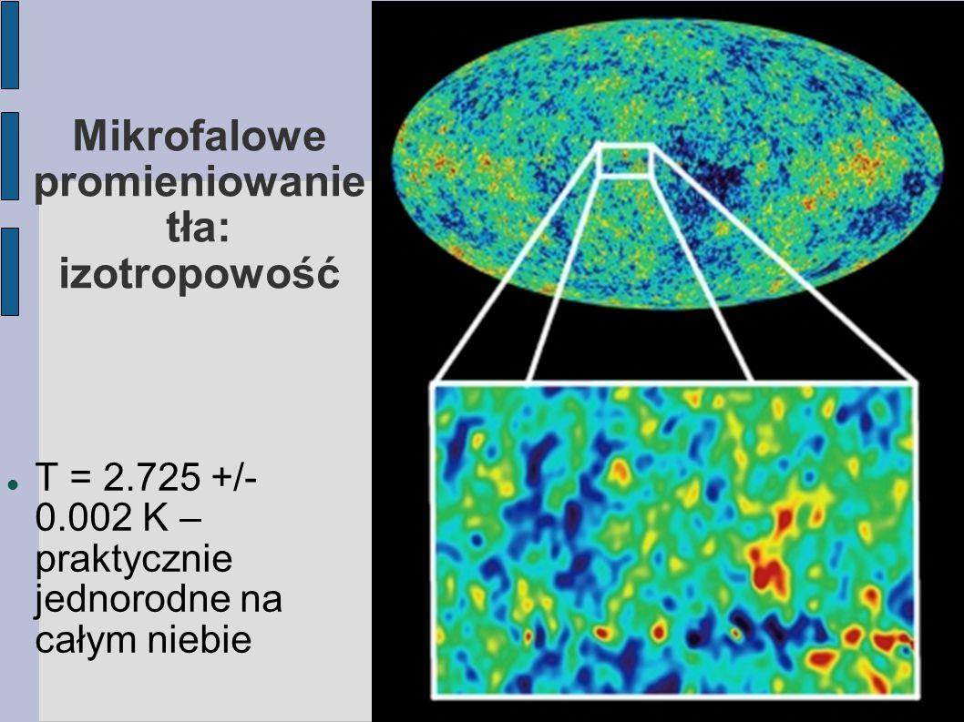 Mikrofalowe promieniowanie tła: dipol na poziomie 10^{-4} obserwuje się dipolową anizotropię (jedna część nieba o 1/1000 cieplejsza od przeciwległej) przypisuje się to ruchowi własnemu Ziemi (=naszej Galaktyki i całej grupy lokalnej) w kierunku supergromady Hydry/Centaura